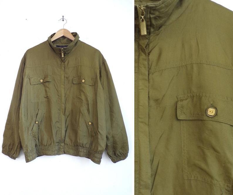 af63878007d Silk bomber jacket olive green lightweight pure silk jacket | Etsy
