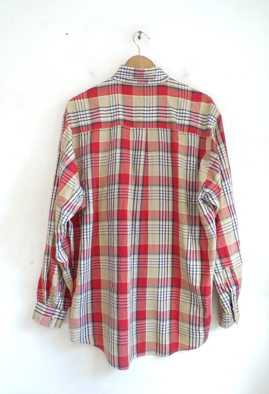 Vintage Mens Plaid Shirt 90s Red Tartan Poplin Long Sleeve Collared Button Down Dress Shirt Size XL Tall