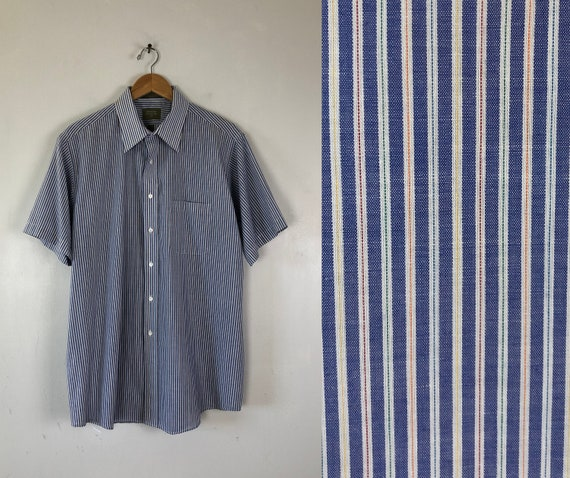 Vintage Mens Rainbow Striped Shirt | 80s Short Sle