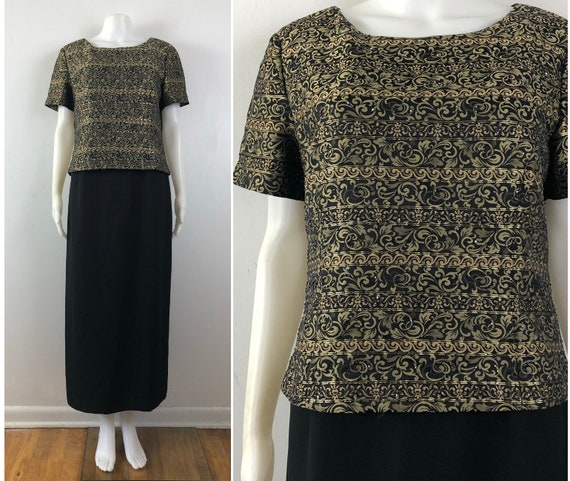 Vintage Beaded Brocade Dress | 90s Black & Gold Fi