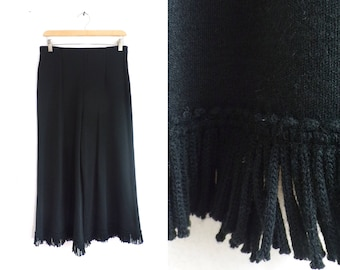 "black fringe culottes 90s high waist knit acrylic wide leg cropped pants minimalist womens trousers small/medium 29-31"" waist"
