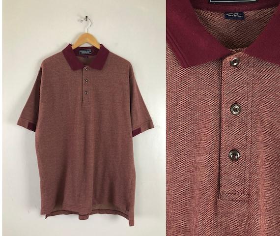 Vintage Mens Polo Shirt | 90s Short Sleeve Burgund