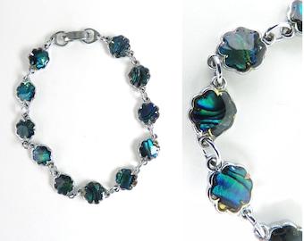 four leaf clover bracelet, marbled iridescent enamel lucky charm chain link bracelet, 80s silver metal bracelet, costume jewelry, jewellery