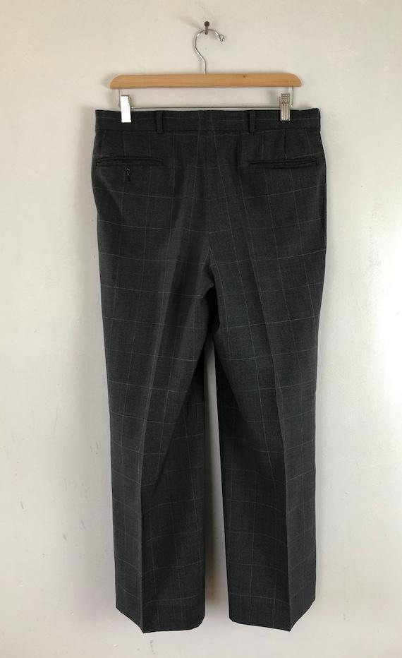 Vintage Mens Plaid Suit | 80s Charcoal Gray Wool … - image 8