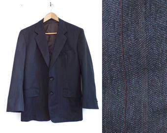 pinstripe wool blazer 38S charcoal gray blazer mens striped blazer mens sport coat 90s mens wool jacket 38S preppy mad men