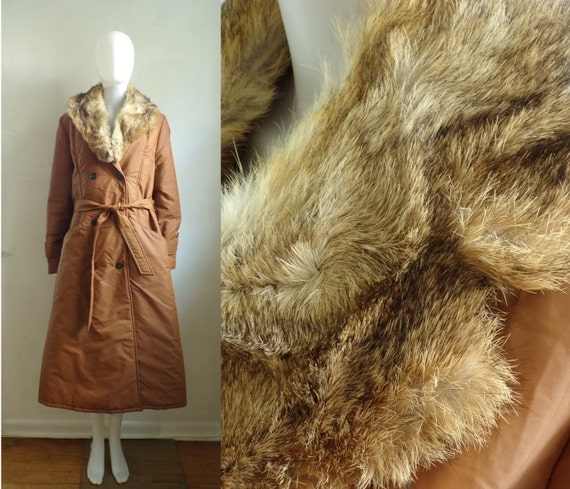 Vintage Fur Collar Trench Coat | 60s Brown Quilted