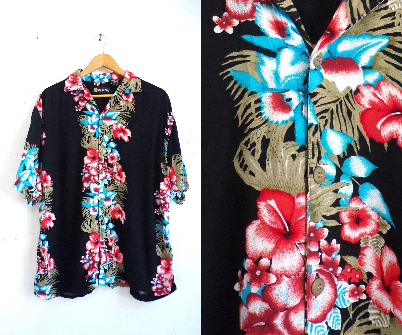 f32da3c52 mens hawaiian shirt size large 90s floral tropical print | Etsy