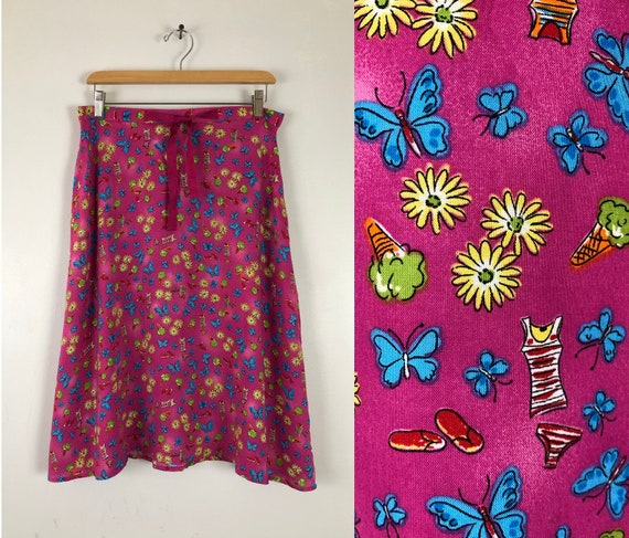 size medium Vintage 70s Whats the Buzz Novelty Print High Waisted Knit A Line Maxi Skirt