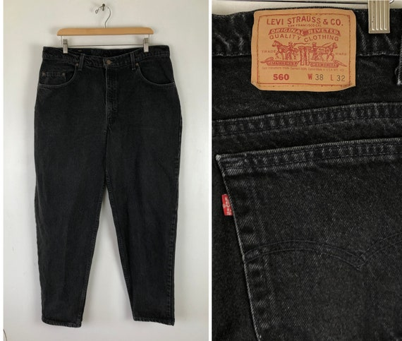 Vintage Mens Levis 560 Jeans | 90s Faded Black Den