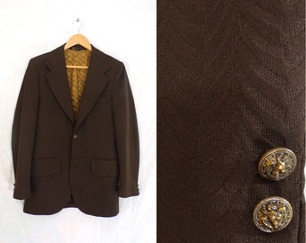 mens 60s blazer size 38R, travel blazer, 1960s knit blazer, brown blazer, mens blazer, mens sports coat, mens jacket, man