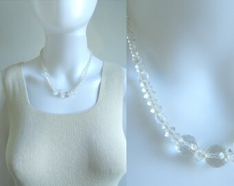 60s crystal neckalce, minimalist clear crystal bead necklace, 1960s mad men vintage necklace, costume jewelry, jewellery
