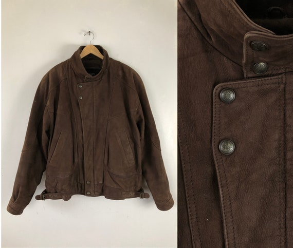 Vintage Mens Leather Bomber Jacket | 80s Brown Sof