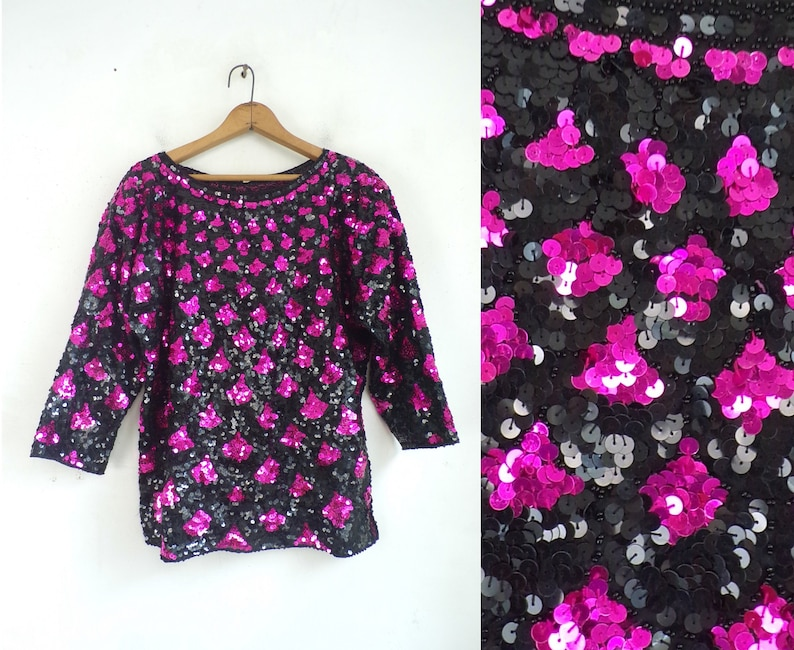 Womens Size Large 80s Black /& Metallic Pink Fancy Beaded Shirt with Cropped Sleeves Vintage Sequin Top