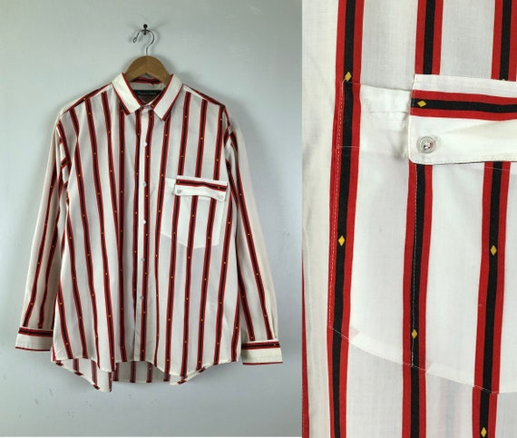 Vintage Mens Western Shirt | 70s Striped Button Do