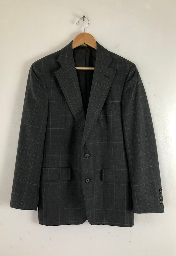 Vintage Mens Plaid Suit | 80s Charcoal Gray Wool … - image 2