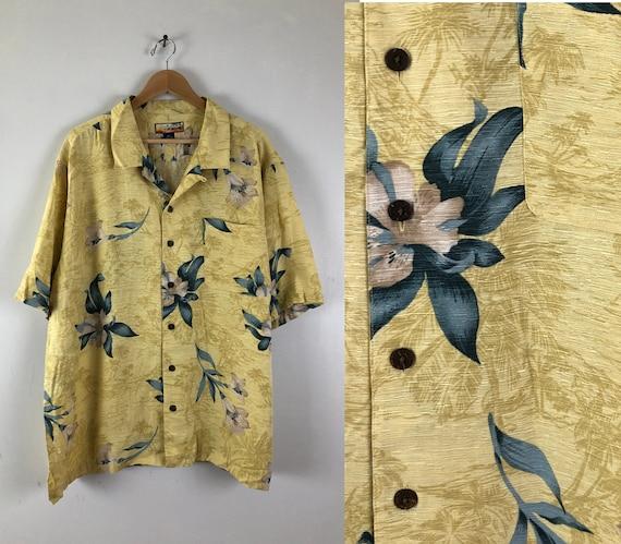 Vintage Mens Silk Hawaiian Shirt   90s Yellow Flor
