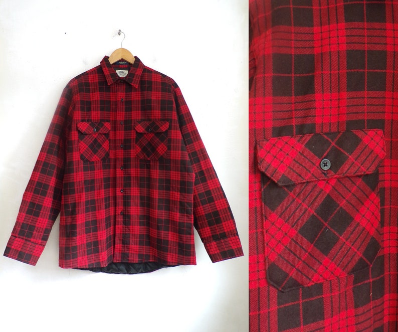 Vintage Mens Flannel Jacket 80s Buffalo Plaid Coat With Etsy