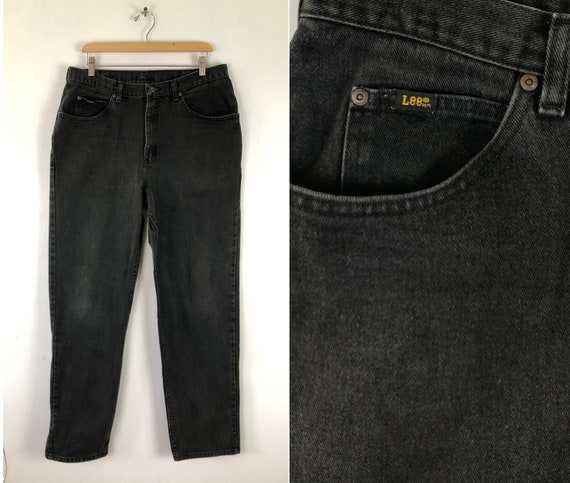 Vintage Mens Faded Black Jeans | 90s Lee Black Den