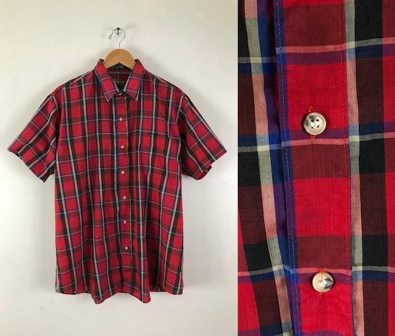 Vintage Mens Plaid Shirt   70s Red Tartan Button D