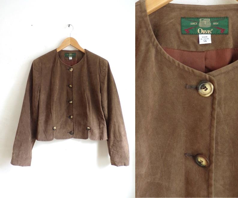 856b98b3e 90s Orvis jacket brown soft textured microfiber jacket light button down  jacket minimalist cropped jacket womens large