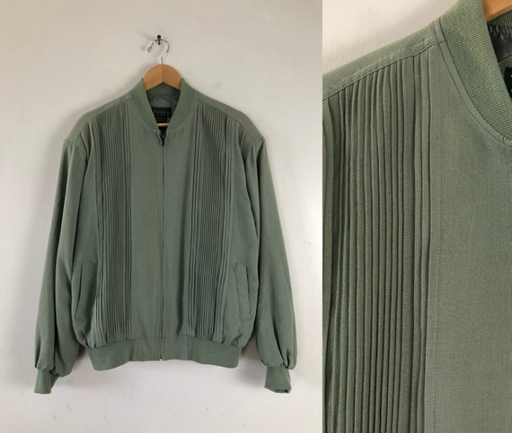 Vintage Mens Silk Bomber Jacket | 90s Moss Green P
