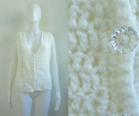 iridescent crochet sweater vest 80s white knit ve… - image 1