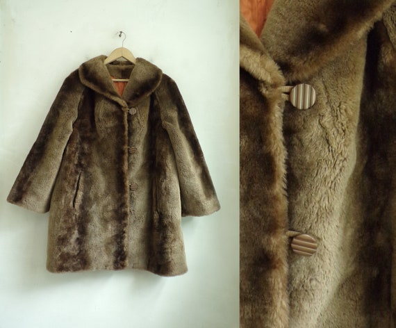 Vintage Faux Fur Coat | 60s Brown Acrylic Fake Fur