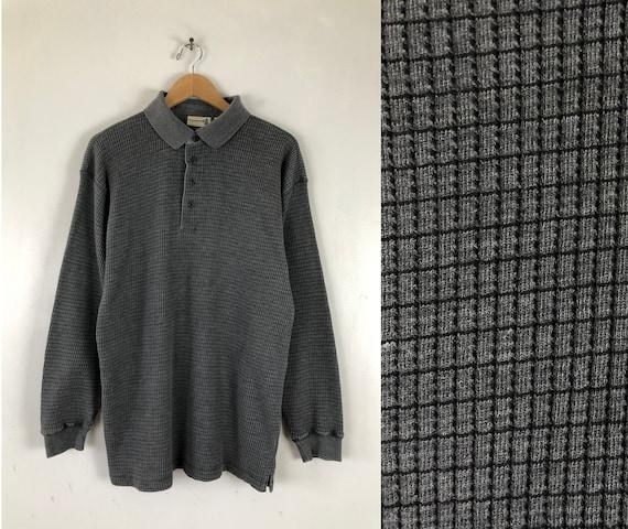 Vintage Mens Waffle Knit Shirt | 90s Gray Fine Kni