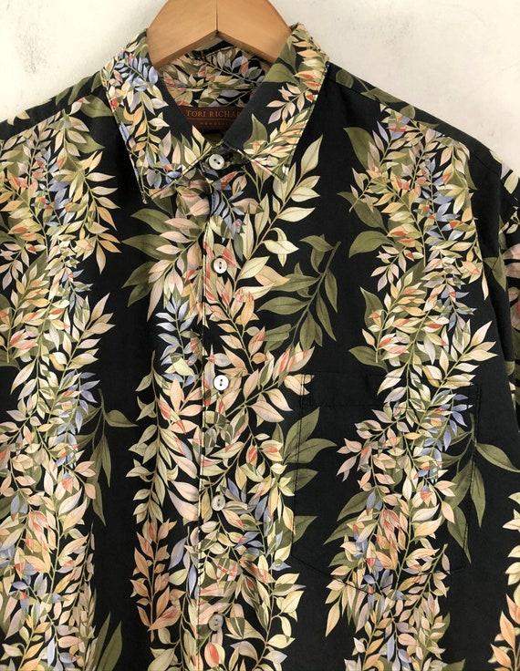 Vintage Mens Hawaiian Shirt | 90s Tori Richard Fl… - image 3