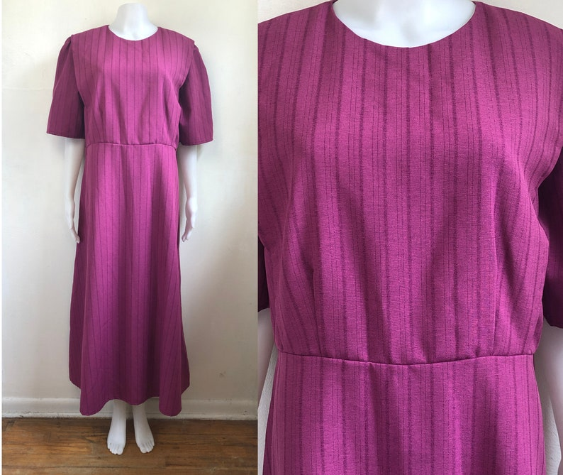 Vintage Striped Maxi Dress   90s Dark Pink Handmade Short Sleeve A-Line Dress   Womens Size XL