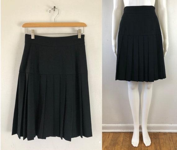 Vintage Black Wool Skirt | 80s Twill Wool Pleated