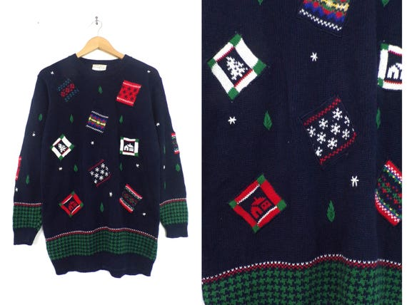 patchwork holiday sweater embroidered christmas sw