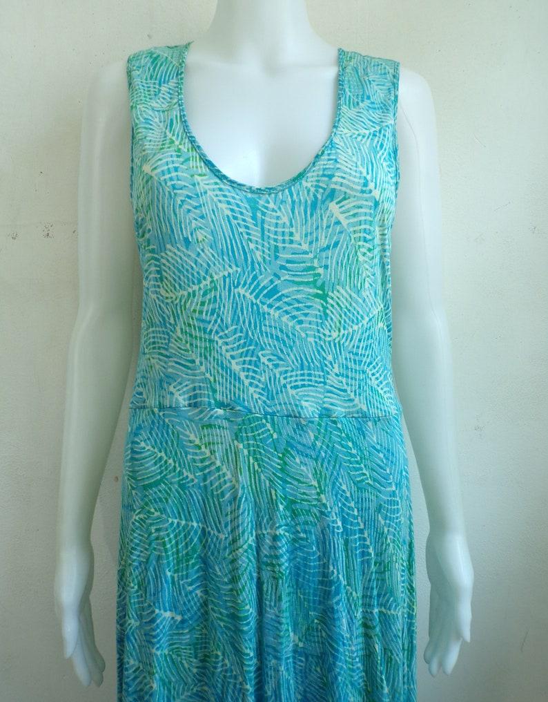 Womens Size MediumLarge 90s Abstract Leaf Print Stretch Knit Rayon Lightweight Sleeveless Dress Vintage Tank Dress
