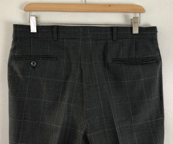 Vintage Mens Plaid Suit | 80s Charcoal Gray Wool … - image 9