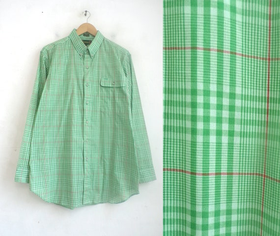 Vintage Mens Plaid Shirt | 70s Green Tartan Lightw
