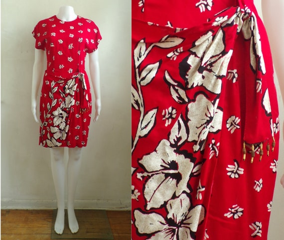 Vintage Floral Dress | 80s Red Flower Print Rayon