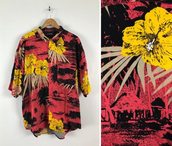 Vintage Mens Hawaiian Shirt | 80s Bright Floral &