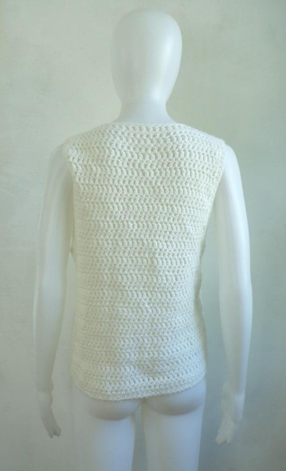 iridescent crochet sweater vest 80s white knit ve… - image 4