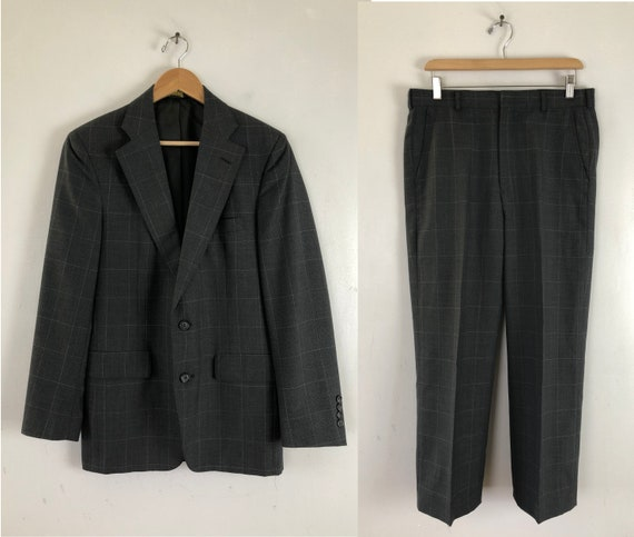 Vintage Mens Plaid Suit | 80s Charcoal Gray Wool S