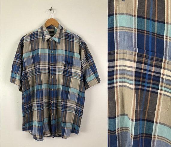 Vintage Mens Plaid Shirt | 70s Blue Tartan Cotton