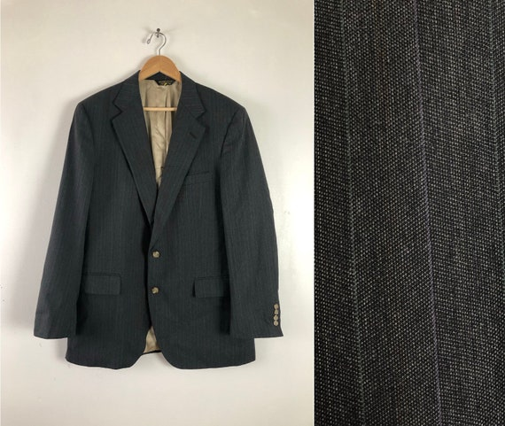 Vintage 70s Charcoal Pinstripe Blazer Men/'s 38R Flannel Wool Sports Coat 38 Regular Classic Jacket Retro Menswear Unique Wedding Prom Wear