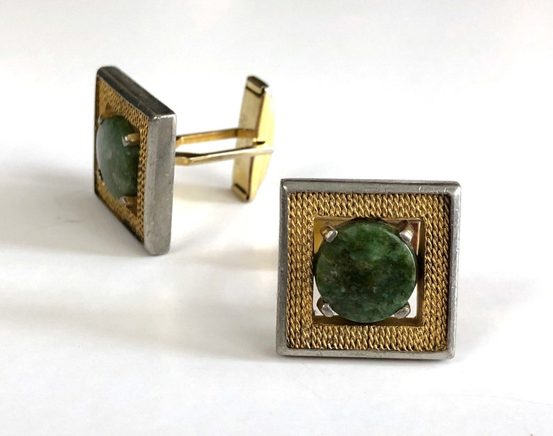 Gold /& Silver Tone Vintage Natural Stone Cuff Links 70s Marbled Green Stone Square Cufflinks