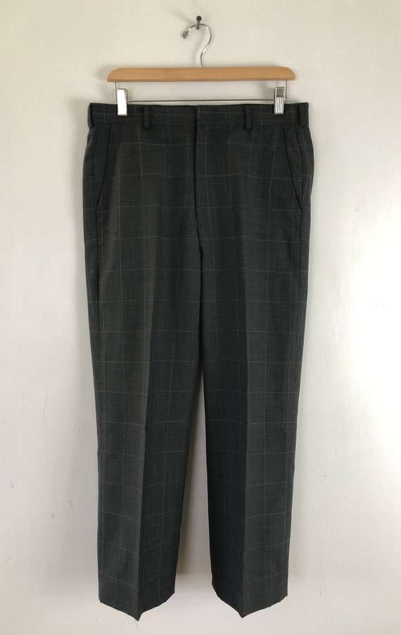 Vintage Mens Plaid Suit | 80s Charcoal Gray Wool … - image 6