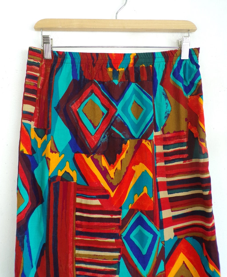 vintage southwestern skirt 80s geometric tribal pattern lightweight rayon colorful pencil skirt size small 27-28 elastic waist