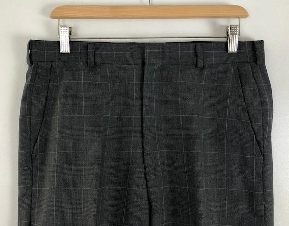 Vintage Mens Plaid Suit | 80s Charcoal Gray Wool … - image 7