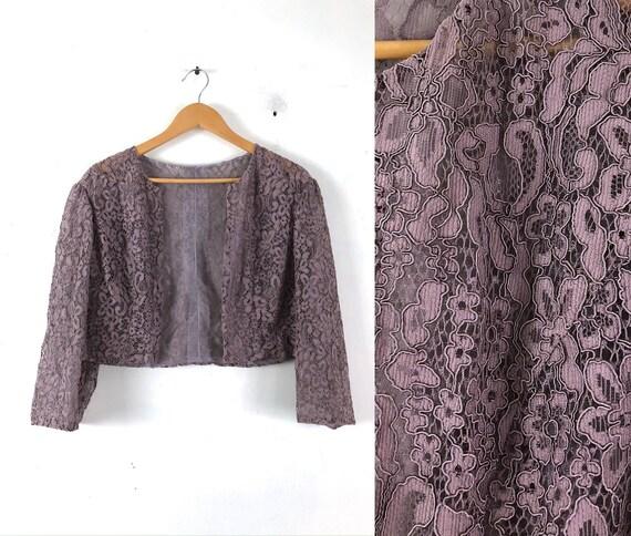 Vintage Purple Lace Bolero Jacket | 80s Guipure Fl