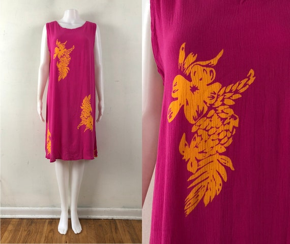 Vintage Hawaiian Dress | 90s Floral Rayon Hot Pink