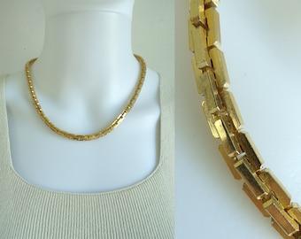70s gold metal chain link necklace 1970s minimalist geometric goldtone necklace vintage costume jewelry jewellery