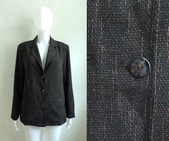 90s chicos blazer woven subtle plaid blazer 1990s