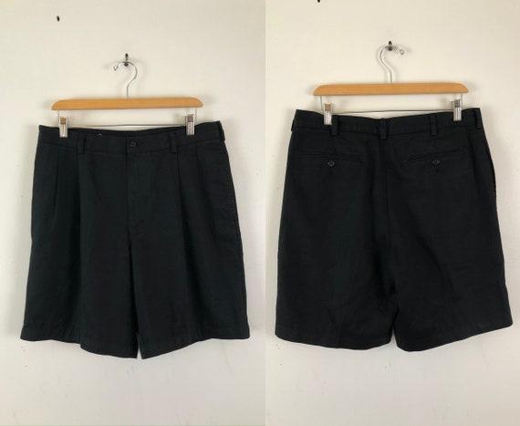 Vintage Mens Black Chino Shorts | 90s Perry Ellis